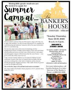 The Banker's House Summer Camp flyer